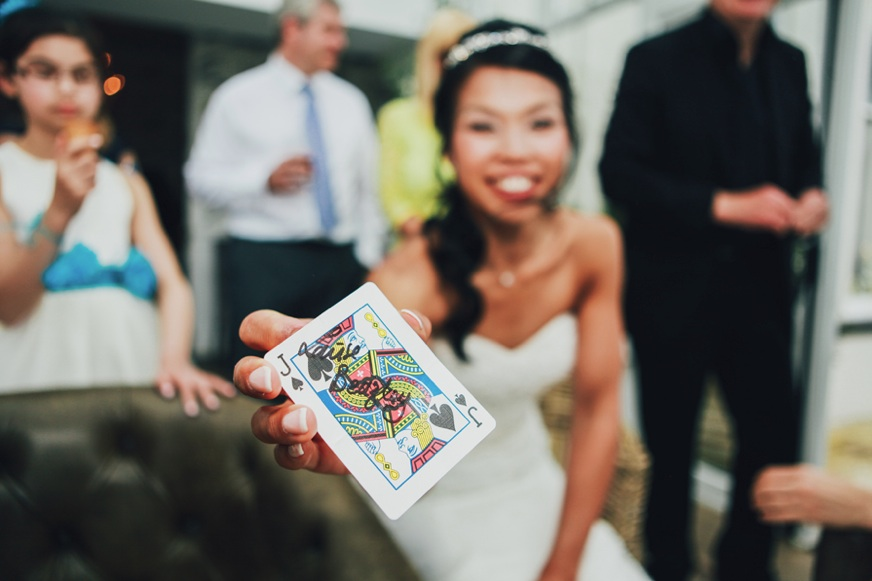 Bride signing playing card